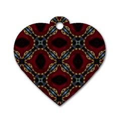 Cute Pretty Elegant Pattern Dog Tag Heart (Two Sided) by creativemom