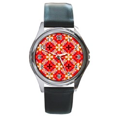 Cute Pretty Elegant Pattern Round Leather Watch (silver Rim) by creativemom