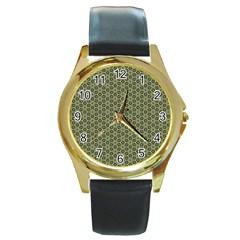 Cute Pretty Elegant Pattern Round Leather Watch (gold Rim)  by creativemom