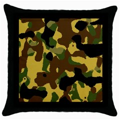 Camo Pattern  Black Throw Pillow Case by Colorfulart23