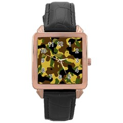 Camo Pattern  Rose Gold Leather Watch  by Colorfulart23