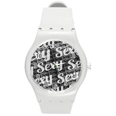 Sexy Text Typographic Pattern Plastic Sport Watch (medium) by dflcprints
