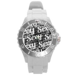 Sexy Text Typographic Pattern Plastic Sport Watch (large) by dflcprints