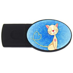 cute cat 2GB USB Flash Drive (Oval) by Colorfulart23