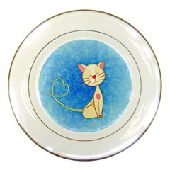 Cute Cat Porcelain Display Plate by Colorfulart23
