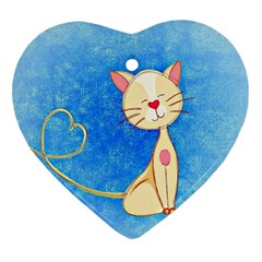 Cute Cat Heart Ornament (two Sides) by Colorfulart23