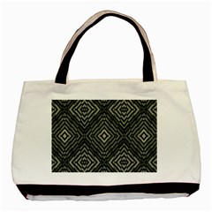 Geometric Futuristic Grunge Print Twin Sided Black Tote Bag by dflcprints