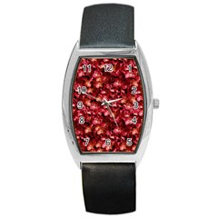 Warm Floral Collage Print Tonneau Leather Watch by dflcprints