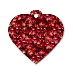 Warm Floral Collage Print Dog Tag Heart (one Sided)  by dflcprints