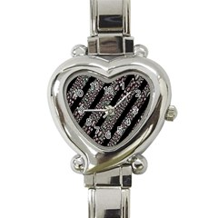 Organic Texture Stripe Pattern Heart Italian Charm Watch  by dflcprints