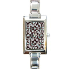 Modern Floral Geometric Pattern Rectangular Italian Charm Watch by dflcprints