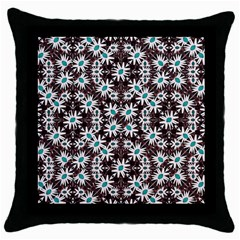 Modern Floral Geometric Pattern Black Throw Pillow Case by dflcprints