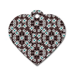 Modern Floral Geometric Pattern Dog Tag Heart (two Sided) by dflcprints