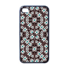 Modern Floral Geometric Pattern Apple Iphone 4 Case (black) by dflcprints