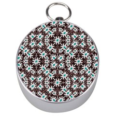 Modern Floral Geometric Pattern Silver Compass by dflcprints