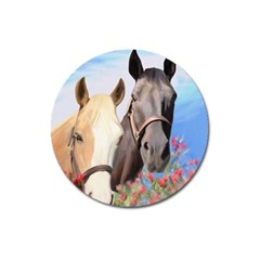 Miwok Horses Magnet 3  (round) by JulianneOsoske