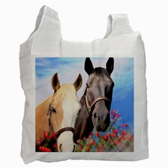 Miwok Horses White Reusable Bag (one Side) by JulianneOsoske