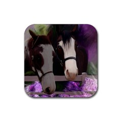 Two Horses Drink Coasters 4 Pack (square) by JulianneOsoske