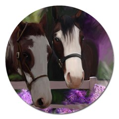 Two Horses Magnet 5  (round) by JulianneOsoske