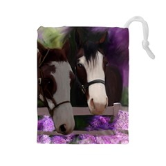 Two Horses Drawstring Pouch (large) by JulianneOsoske