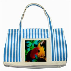 Two Friends Blue Striped Tote Bag by JulianneOsoskeFeathers