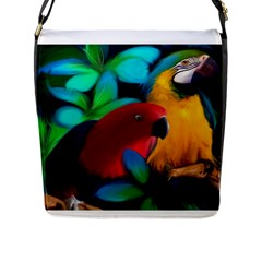 Two Friends Flap Closure Messenger Bag (large) by JulianneOsoskeFeathers