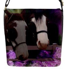 Two Horses Flap Closure Messenger Bag (small) by JulianneOsoske