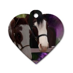 Two Horses Dog Tag Heart (Two Sided) by JulianneOsoske