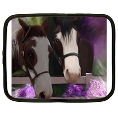 Two Horses Netbook Sleeve (large) by JulianneOsoske