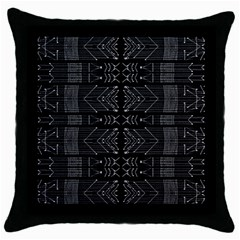 Black And White Tribal  Black Throw Pillow Case by dflcprints