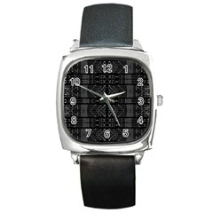 Black and White Tribal  Square Leather Watch