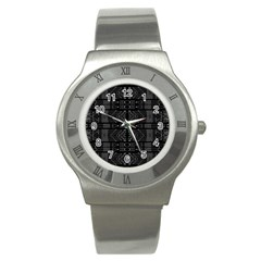 Black and White Tribal  Stainless Steel Watch (Slim)