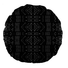 Black And White Tribal  Large 18  Premium Flano Round Cushion  by dflcprints