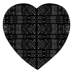 Black And White Tribal  Jigsaw Puzzle (heart) by dflcprints