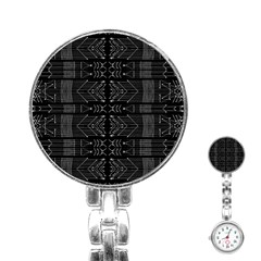 Black And White Tribal  Stainless Steel Nurses Watch by dflcprints