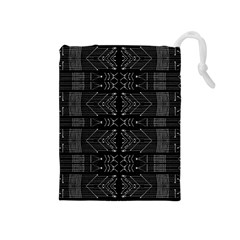 Black And White Tribal  Drawstring Pouch (medium) by dflcprints