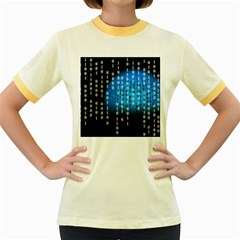 Binary Rain Women s Ringer T Shirt (colored)