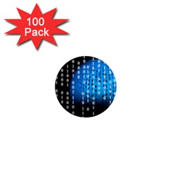 Binary Rain 1  Mini Button Magnet (100 Pack) by StuffOrSomething