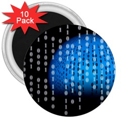 Binary Rain 3  Button Magnet (10 Pack) by StuffOrSomething