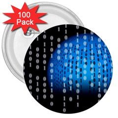 Binary Rain 3  Button (100 Pack)