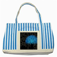 Binary Rain Blue Striped Tote Bag by StuffOrSomething