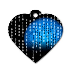 Binary Rain Dog Tag Heart (one Sided)  by StuffOrSomething