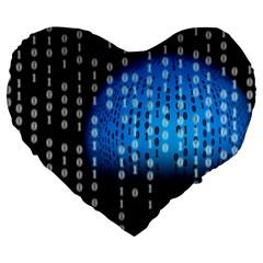 Binary Rain Large 19  Premium Heart Shape Cushion