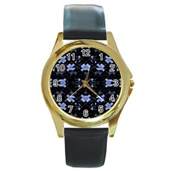 Futuristic Geometric Design Round Leather Watch (gold Rim)  by dflcprints
