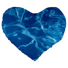 Water  Large 19  Premium Heart Shape Cushion by vanessagf