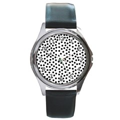 Black Polka Dots Round Leather Watch (silver Rim) by Justbyjuliestore