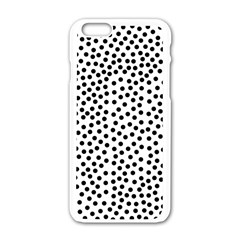 Black Polka Dots Apple Iphone 6 White Enamel Case by Justbyjuliestore