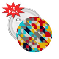 Colorful Shapes 2 25  Button (10 Pack) by LalyLauraFLM