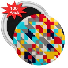 Colorful Shapes 3  Magnet (100 Pack) by LalyLauraFLM