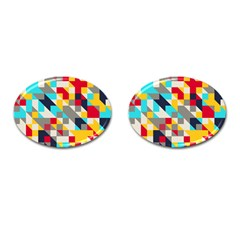 Colorful Shapes Cufflinks (oval) by LalyLauraFLM